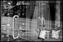 window of opportunity [explore] (MdKiStLeR) Tags: china street door urban bw man reflection window photography hongkong asia candid layers windowofopportunity