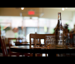 Table Looking For Customers. Day 271 ([Sebastien C.]) Tags: 365 50mm city glasses indoor m montreal nikond80 restaurant soup soupe table urban bokeh bottle chair chairs f18 glass lunchbreak spoon tables utensils