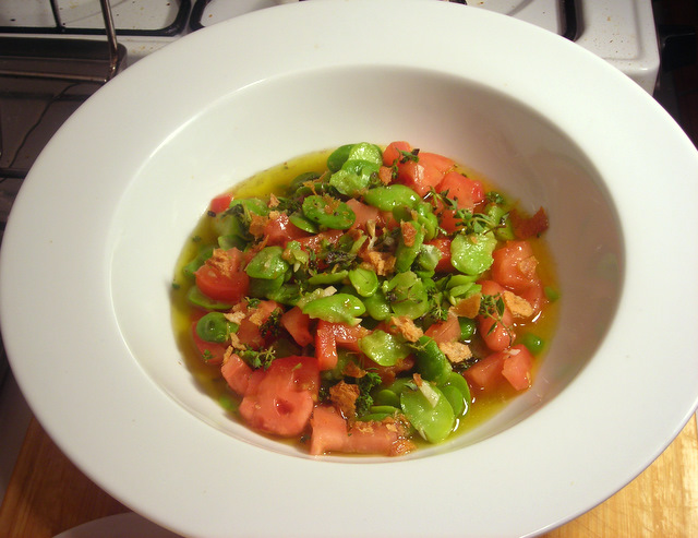 Fava bean and Jersey tomato ragoût
