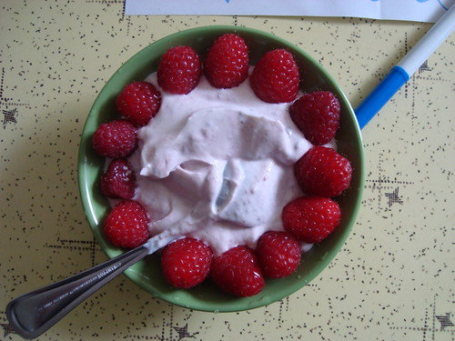 yoghurt and raspberries for breakfast