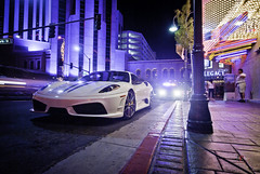 In Trouble | Ferrari 430 Scuderia (Folk|Photography) Tags: lighting street blue sky people urban white colors car night buildings lights high blurry nikon long exposure downtown shot angle nevada tripod wide performance creative stripe police sigma ferrari sidewalk cop metropolis brake headlight reno 1020mm ultra bianco coupe scuderia scraper f430 430 avus lighs 16m d3000 worldcars folk|photography