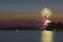 Lake Bruin Fireworks No 2 (frank3.0) Tags: sunset lake reflection water boats aperture fireworks 4thofjuly oxbow crescentmoon lakebruin tensasparish nikcolorefexpro30 canon5dmkii canonef135lusm