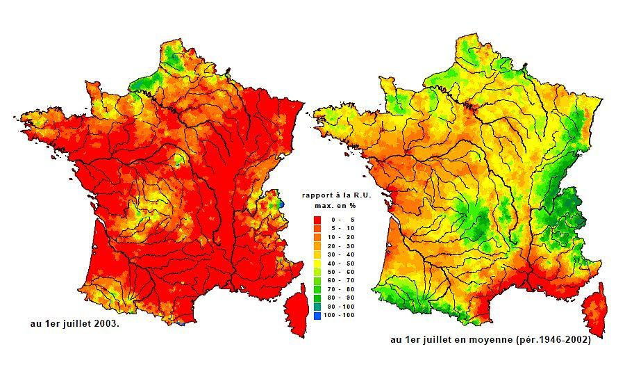 sécheresse des sols en juillet 2003 météopassion