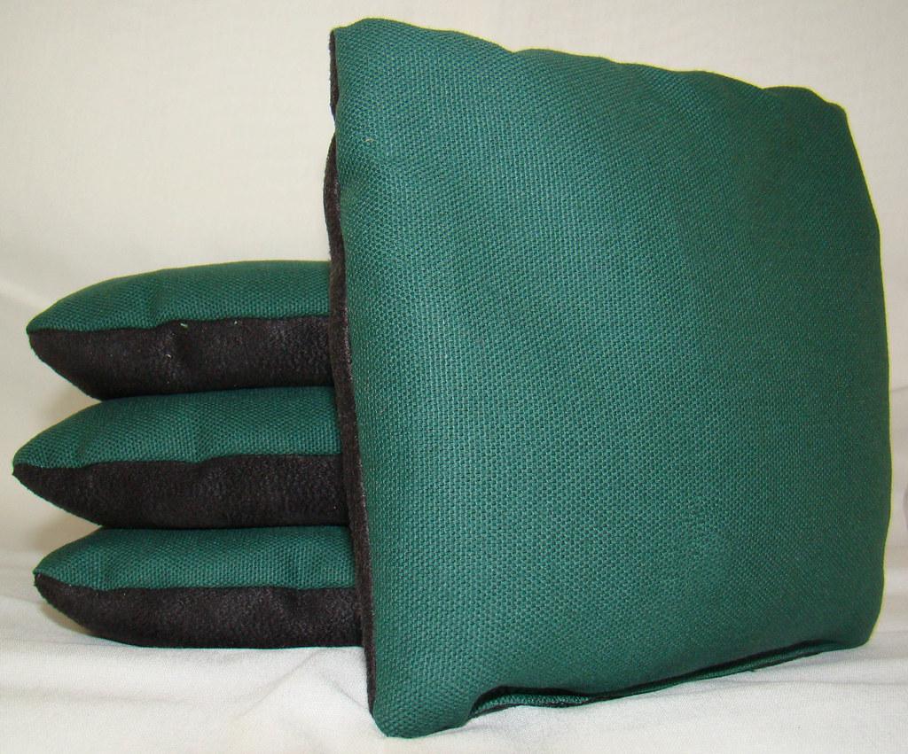 Hunter Green & Black Suede Dual Sided Cornhole Bags