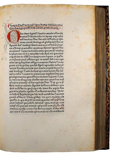 Decorated initial in Nider, Johannes: De morali lepra