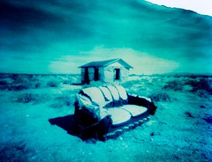 The Last of It! (westmojavelife) Tags: life blue house abandoned film desert cyan pinhole couch mojave instant peel apart polaroid59