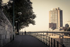 In the Shadows of the City (Gilderic Photography) Tags: city bridge cinema man building tree tower silhouette architecture skyscraper canon eos raw tour shadows belgium belgique belgie sunny ombre pont cinematic liege quai slope ville 500d gilderic