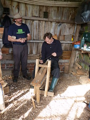 Using a shave horse - shaping the wood