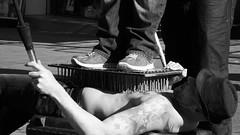 the nail man 05 (byronv2) Tags: street blackandwhite bw man monochrome scotland blackwhite edinburgh candid tattoos nails topless royalmile streetperformer performer oldtown bedofnails edimbourg