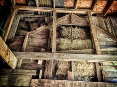 Barn within a barn (SteveMather) Tags: wood old ohio usa dusty wooden boards cleveland rustic barns picasa oh rough hay bales northeast spiderwebs cobwebs gable 4s iphone osb 2014 orientedstrandboard googleonlinephotoeditor