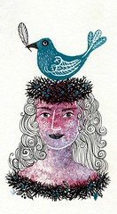 Inktober Stamp 6 Bird (Crickett-Grrrl) Tags: inktober ink stamp drawing illustration bird nests hair inktober2016 doodle doodling