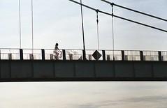 Ride (Studio fotoplastikon) Tags: canonae1 color film fuji fujicolor bridge ride bike sunrise