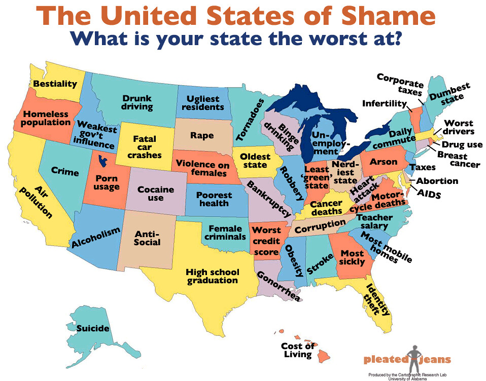 What Every State In America Is Best At And Worst At Big Think - Map of united states states