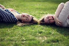 (Kaat dg) Tags: girls light portrait green girl grass hair fun 50mm nikon bokeh 14 laugh d5100