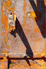Withering Metal (Ernie Visk) Tags: california pink shadow orange abstract texture metal closeup truck canon junk rust peeling rusty oxidation campo weathered rough derelict corrosion corroded oxidized