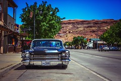 Classy in the streets of Moab (Neo - nimajus) Tags: auto street door two usa classic cars car utah streetphotography 63 cadillac american classics moto moab coupe classiccars caddy 1963 coupedeville americancars twodoor 1963cadillaccoupedeville caddillaccoupe