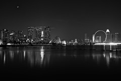 Singapore Skyline - black and white version (Explore 25 June) (Let my photography tell you my story) Tags: city blackandwhite bw skyline night canon eos singapore dslr singaporeskyline canoneos5dmarkiii