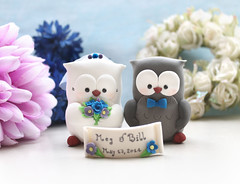 Unique Owls wedding cake toppers - grey blue purple birdcage cake topperswhite grey royal blue lavender purple banner (PassionArte) Tags: owl gufo cake toppers bride groom ivory white tan brown gray grey purple teal green red rainbow names handmade etsy personalized unique cute country rustic funny elegant custom bouquet bridal gift anniversary royal blue