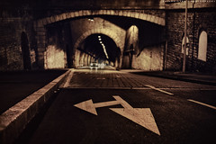 Welcome in the Game  (Quicksil7er) Tags: street game cars texture lines night lights mono graphic bokeh perspective tunnel flare depth quicksil7er