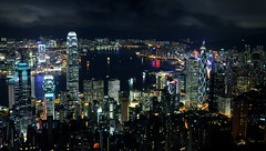Stunning View. This is Hong Kong | ::::: Explored ::::: | ( Simon) Tags: city building night hongkong harbor nikon harbour metropolis thepeak    1755    d90