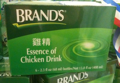 A Chinese powdered beverage named Essence of Chicken Drink.