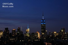 Empire State Building all in blue for World Refugee Day (NYCisMyMuse) Tags: nyc newyorkcity ny newyork architecture evening landmarks empirestatebuilding 30rock bankofamericatower 4timessquare blueblueblue onebryantpark nycismymuse