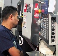 Closer Look at a Haas DS-30Y (Haas Automation, Inc.) Tags: technology haas cnc lathe manufacturing machining yaxis haasautomation genehaas westec cncmachining haascnc turningcenter cncmachinetools ds30y dualspindle