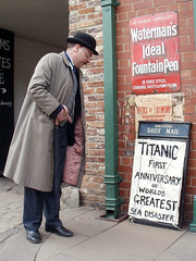 Breaking News - Titanic Anniversary (1913) (Beamish Museum) Tags: people news costume transport vehicles event cs veteran titanic period sinks breaking 2012 costumed beamishmuseum gnsf greatnorthsteamfair