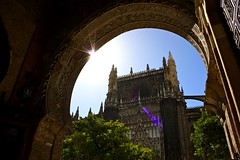 Moorish Architecture at Seville Cathedral (Seville, Spain) (runintherain) Tags: trees light espaa sun buildings religious sevilla andaluca spain europe islam cathedrals seville christianity andalusia mosques sevillecathedral patiodelosnaranjos catedraldesantamaradelasede cathedralofsaintmaryofthesee canonxsi canon450dxsi runintherain