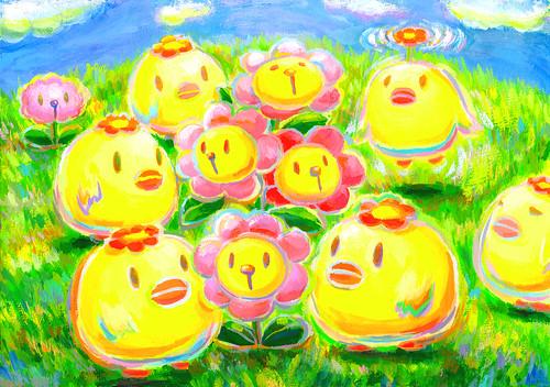 一枚絵_18_はなとり、お花むーに集まる