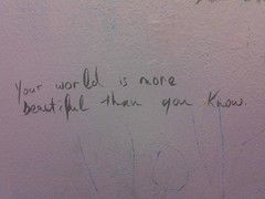 Your World (LexnGer) Tags: world beautiful beauty writing bathroom graffiti message note dontforget fave2011