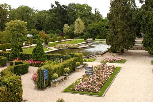 view of the rosarium and lake