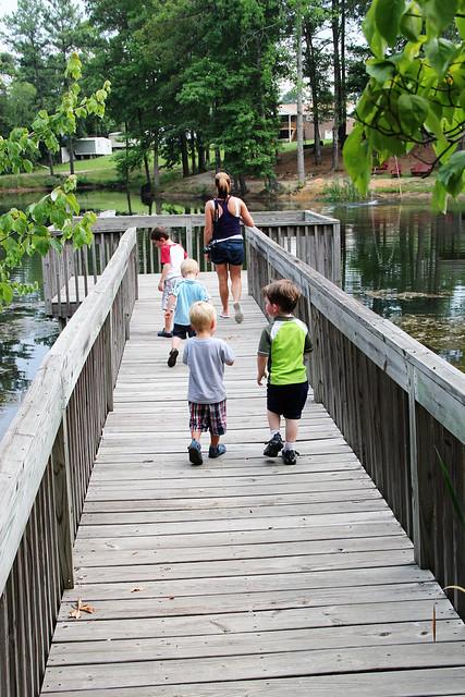 little boys on the pier