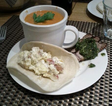 5902885545 3c18478fa2 Menu: Gazpacho, Grilled Steak with Chimichurri, Taco with Potato Egg Chevre Salse Verde