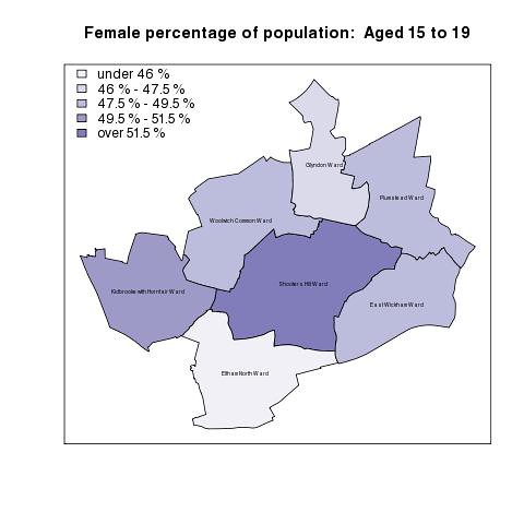 Female percentage of population:  Aged 15 to 19