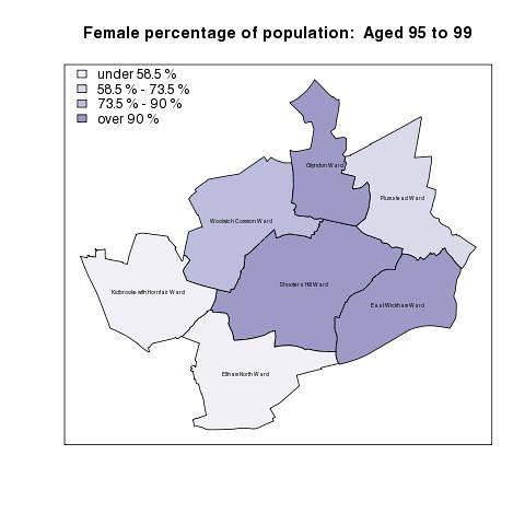Female percentage of population:  Aged 95 to 99