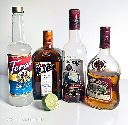 Mai Tai ingredients - Orgeat Syrup, Cointreau, Gosling's Black Seal Dark Rum, Appleton   V/X Amber Rum