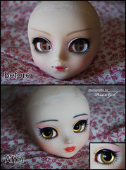 Before / After - EOS (-Poison Girl-) Tags: new brown girl yellow hair eos golden eyes doll dolls teddy makeup wig yukata groove kimono pullip straight poison custom pullips poisongirl customs faceup eyechips junplanning rewigged pullipcustom teddybeareyes
