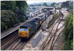 Class 50 50027 50032 St Austell 3 June 81 (Stapleton Road) Tags: train diesel lion locomotive courageous class50 staustell mk1 largelogo 50027 50032
