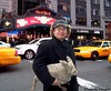 Seara (sea rabbit) and Dr. Takeshi Yamada at Times Square, Manhattan, New York on December 28, 2011.  20111228 049.  Hard Rock Cafe at Times Square.