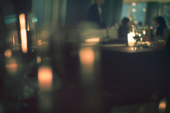 (skidu) Tags: light blur tower japan canon out restaurant tokyo focus candle bokeh sigma faded mori 30mm 550d
