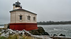 Coquille River Lighthouse (with HDR effects) in Bandon, Oregon (mharrsch) Tags: lighthouse oregon driftwood bandon hdr coquilleriver mharrsch