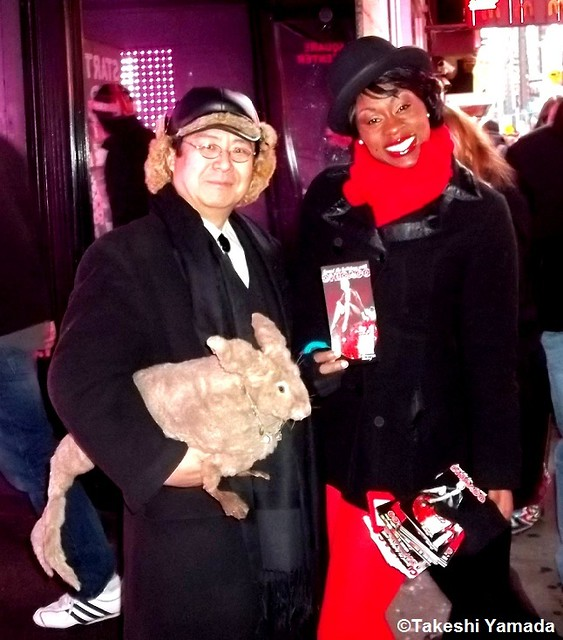 "Seara (sea rabbit) and Dr. Takeshi Yamada and PR lady of the broadway musical ""Chicago"" at Times Square in Manhattan, New York on December 28, 2011.  20111228 060"
