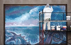 El Muralero (Tato C) Tags: blue sea azul wall port puerto pared mar artwork mural waves arte purple andamio painter scaffold seamonster olas pintor pintura prpura tachos paintpot baldes monstruomarino luigigallo