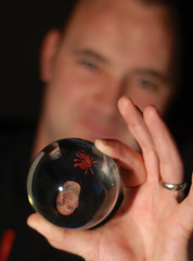 I am Pandora's Perspective. (Carl Ara) Tags: portrait selfportrait glass face hand head refraction crystalball selfie 52in52 52shots