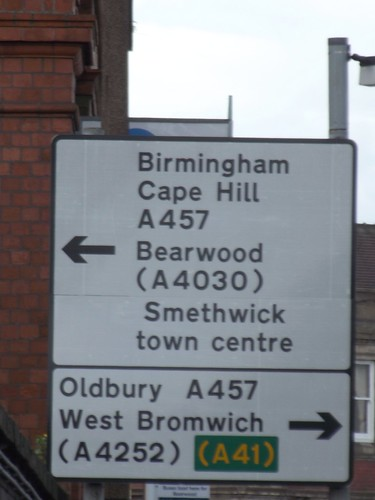 Smethwick Rolfe Street Station - road directions sign