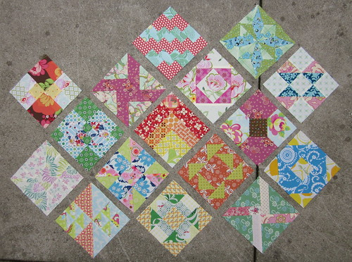 Farmer's Wife Sampler Quilt - all my blocks from weeks 1-4