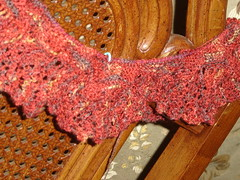 "Rock Island Shawl in Kaalund yarn Classic Two ""Bushfire"""