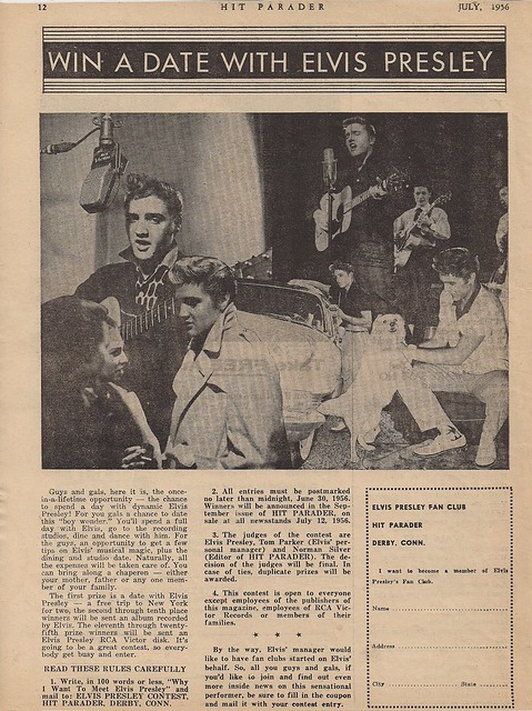 July 1956 Hit Parader Magazine (Dream Date With Elvis Co0001