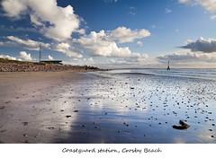 Coastguard station, Crosby (Ianmoran1970) Tags: blue sea sky coastguard cloud white reflection sand mile crosby coastguardstation milemarker ianmoran burbobank ianmoran1970
